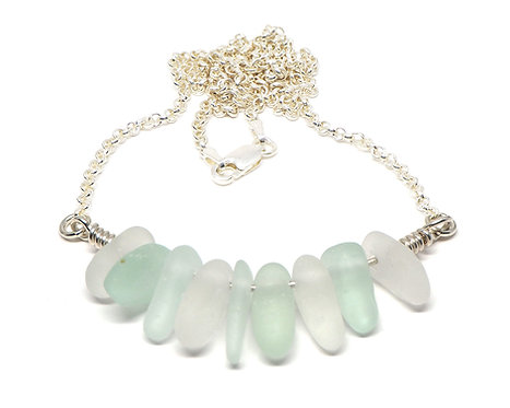 Sea Foam and Frosted Clear Aqua Necklace