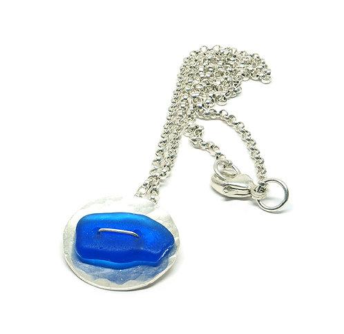 Cobalt Sterling Button Pendant Necklace