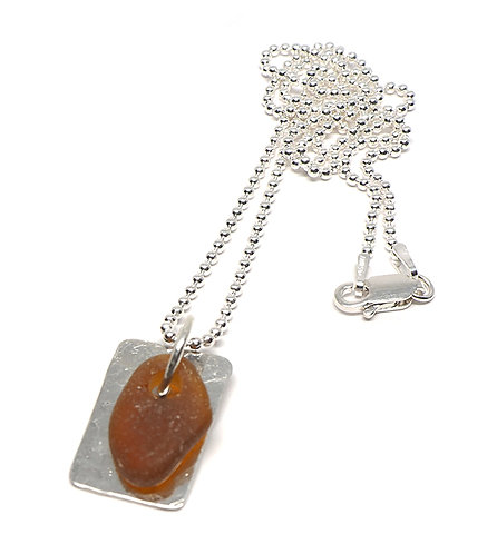 Brown Beach Glass Dog Tag Necklace