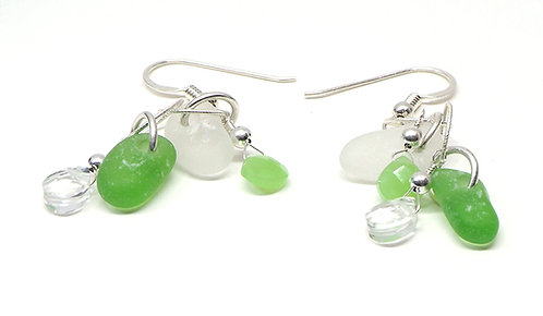 Green and White glass with Semi Precious Stone Earrings
