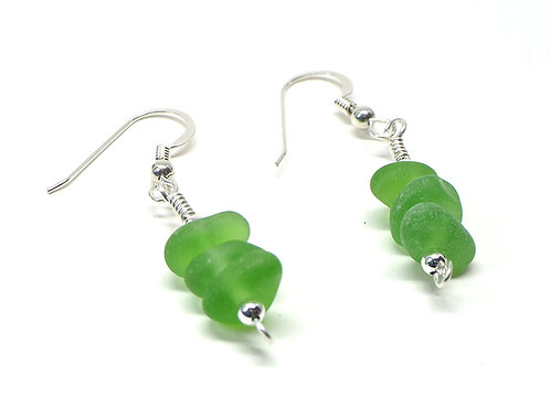 Green stacked earrings