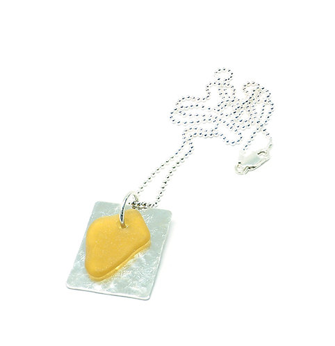 Rare Yellow Sea Glass Silver Dog Tag Style Necklace