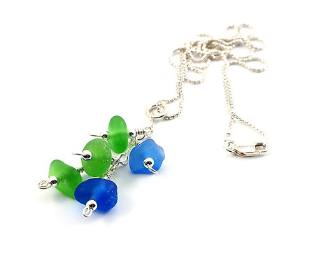 Cobalt and Green beach glass cluster necklace