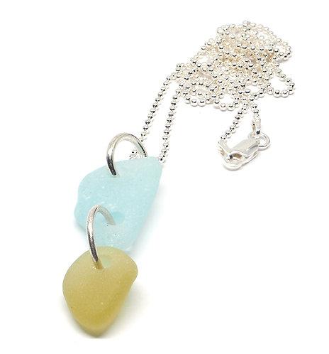 Light Amber and Sea foam Sea Glass Necklace