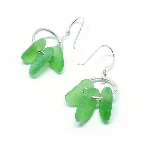 Green Three Piece Earrings