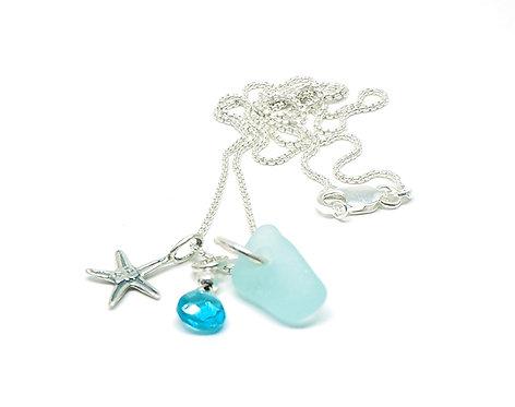Sea Foam Blue, Silver Star and Semi-Precious Stone Necklace