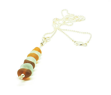 Amber and Sea Foam Stacked Sea Glass Necklace