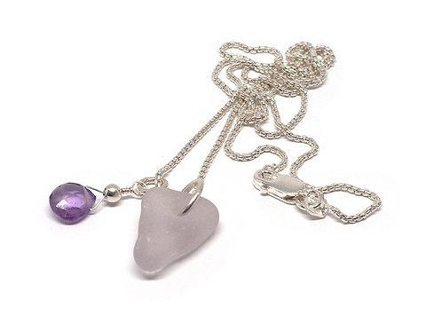 Lilac with a semi precious stone necklace