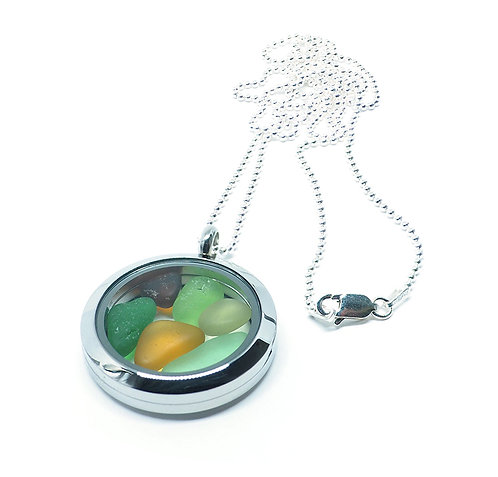 Locket with brown, amber, green and khaki  beach glass
