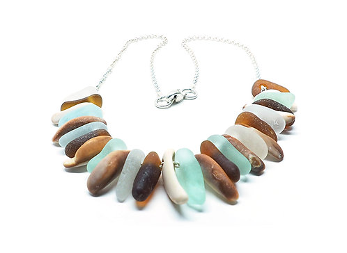 Brown - White - Sea Foam - Shell Shark's Tooth Style Necklace