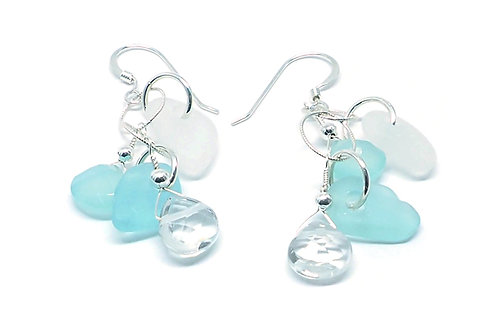 Aqua and White Sea Glass with Semi-Precious Stones Earrings
