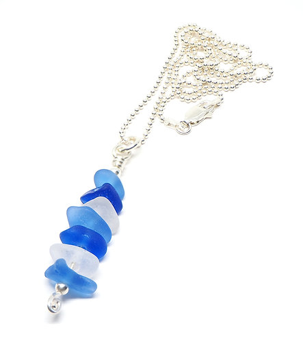 Cornflower, Cobalt and White stacked beach glass necklace