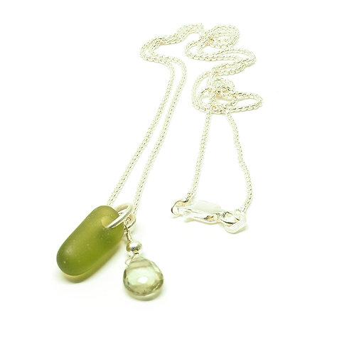 Khaki Sea Glass and Semi Precious Stone Necklace