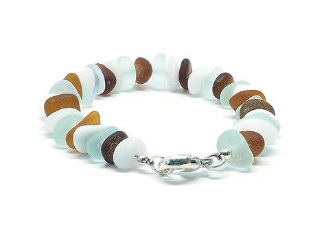 Milk Glass Brown and Sea Foam Bracelet