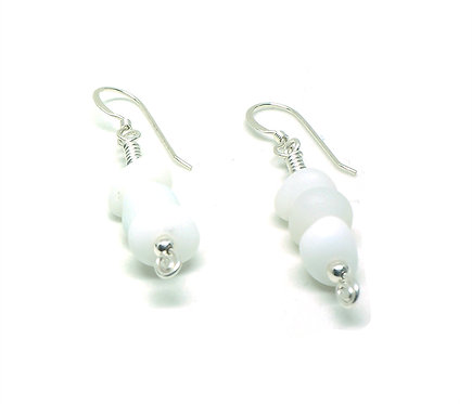 Milk Glass Stacked Earrings