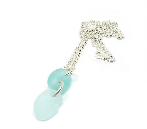 Bright Aqua and Sea foam necklace