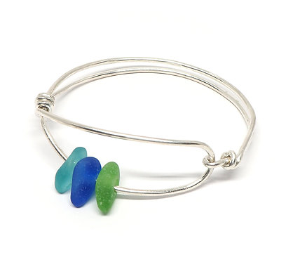 Green, Cobalt and Green Sea Glass Bracelets