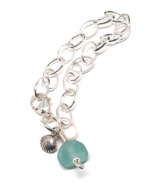 Bright Aqua Sea Glass and Silver Shell Bracelet