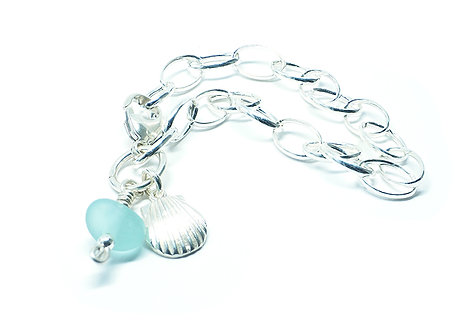 Bright Aqua Sea Glass and Silver Shell Bracelet