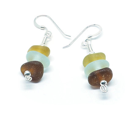 Amber Sea Foam and Brown Stacked Earrings