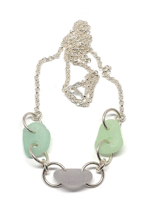 Lilac and Sea Foam glass pieces necklace