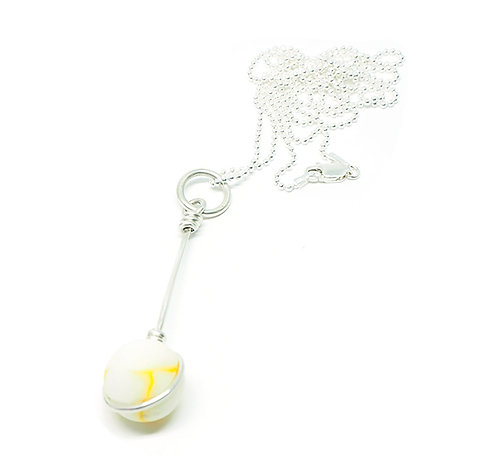 Milk Glass and Yellow Marble Necklace