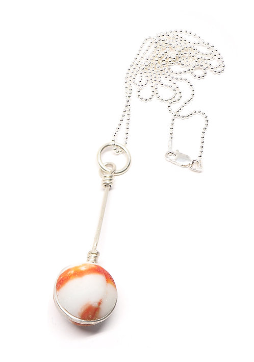 Orange and White Marble Necklace