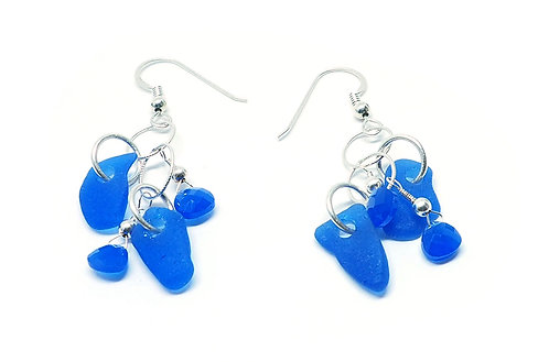 Cobalt and Semi Precious Stone Earrings