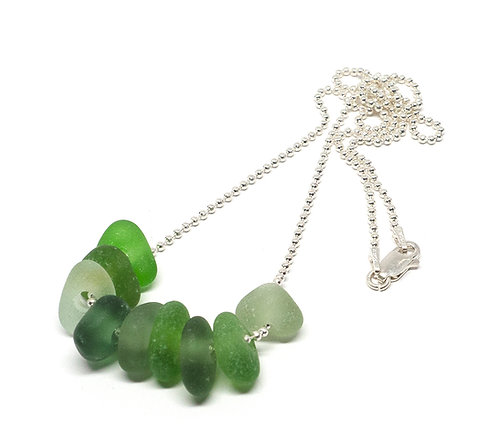 Green, khaki, and sea foam glass pieces necklace
