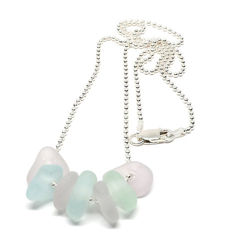 7 Sea foam and lilac Pieces on Box Chain Necklace