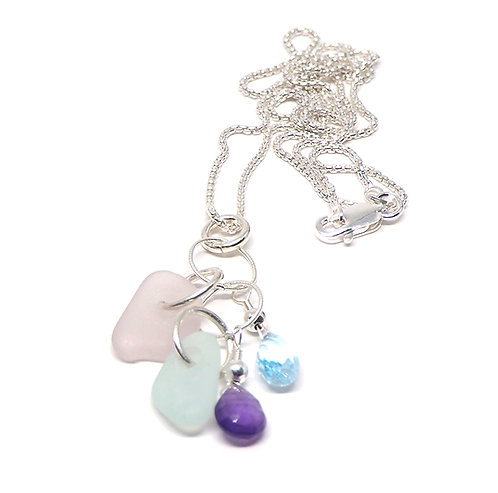 Topaz and Amethyst with Sea Foam and Lilac Necklace