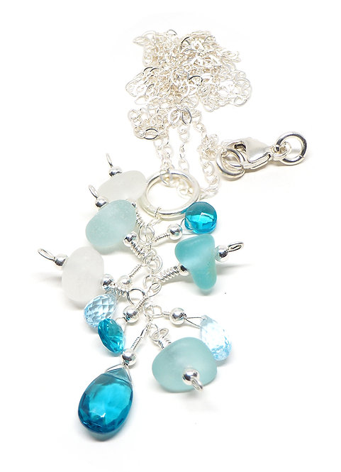 Shades of Aqua and White Sea Glass Necklace