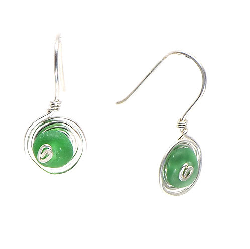 Green beach glass spiral earrings