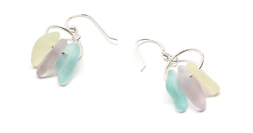 Lilac Yellow and Seafoam Earrings