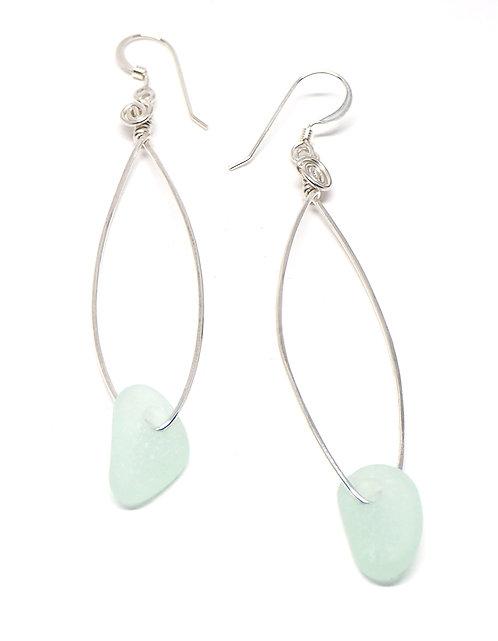 Light Sea foam fish shaped earrings
