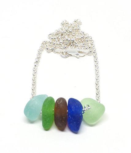Multi Colored Sea Glass 5 Piece Necklace