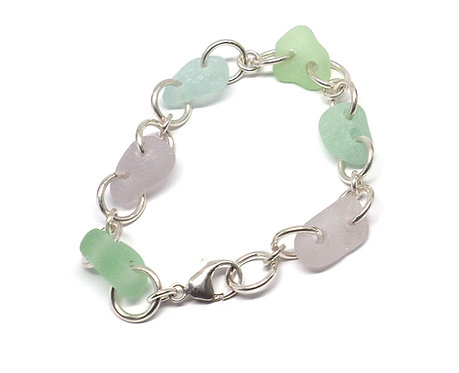 Sea Foam, and Lilac Link Bracelet