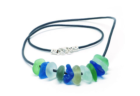 Green, cobalt, khaki and sea foam on leather necklace