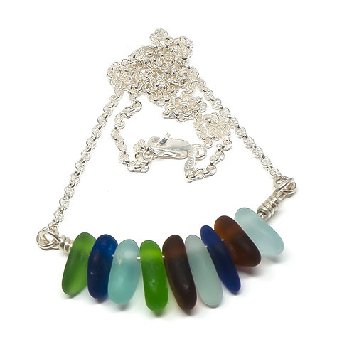 Sea Foam, Brown, Green and Cobalt Glass Necklace