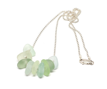 Sea foam and khaki pieces of glass necklace