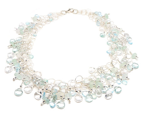 Semi Precious and Sea Glass Lace Style Necklace