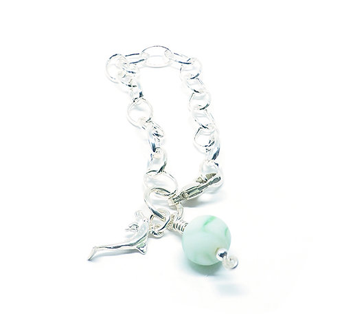 Green and White Marble with Sterling Dolphin Bracelet