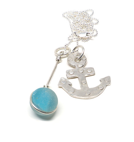 Anchor and Bright Aqua Marble Necklace