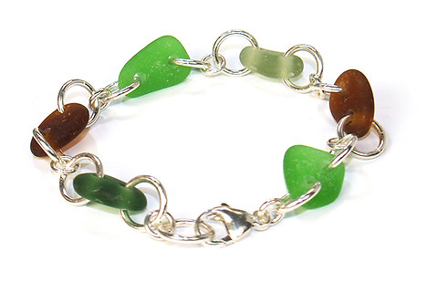 Multi Colored (Brown and Green) Link Bracelet