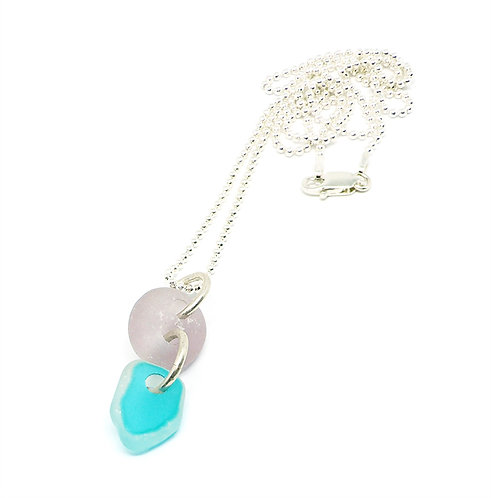 Lilac and Bright Aqua Necklace