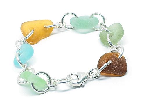 Bright Aqua, Sea Foam, Amber, Khaki and Brown Link Bracelet
