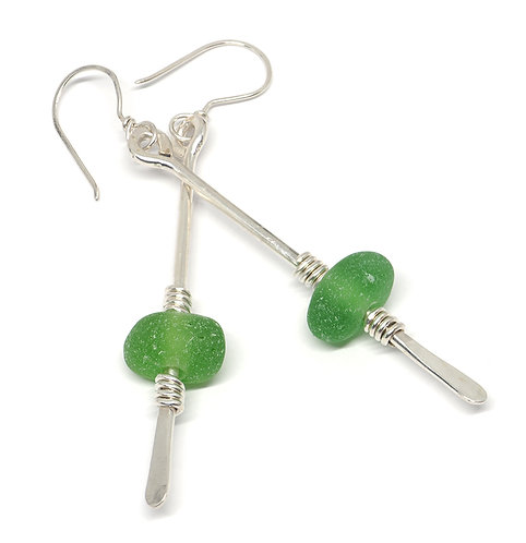 Green Sea Glass Paddle Shaped Earrings