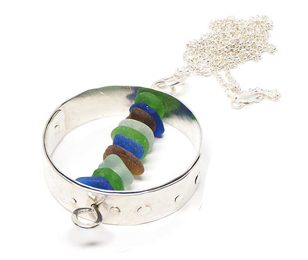 Large Multi Colored Stacked Sea Glass Necklace