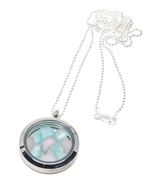 Lilac and Sea foam Locket Necklace