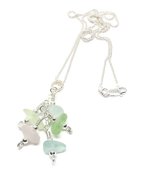 Multi- Colored Pastel Beach Glass Cluster Necklace